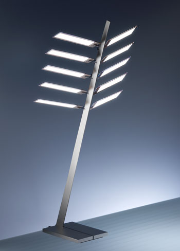 "Abb. 16: Osram Technologie-Studie ""Early Future"" (Design: Ingo Maurer, 2008) bestehend aus zehn Single White-OLED-Modulen."